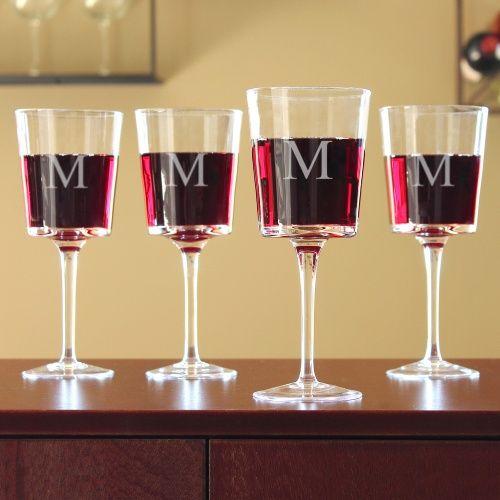 Personalized Contemporary Wine Glasses.