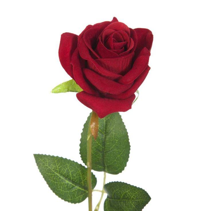 Flores artificiales online. Flor rosa artificial roja de terciopelo. Alambre interior en el tronco. Flor decorativa con aspecto natural. Alto total 50 cms.