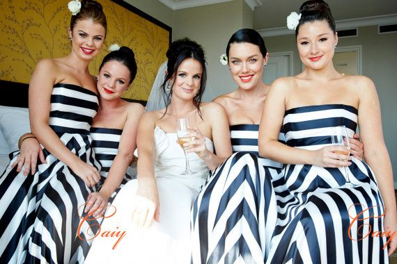 Black and white stripes floor-length bridesmaid evening dress on Etsy, $219.00