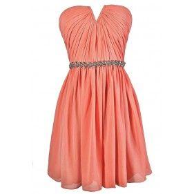 Bridesmaid dress - bright peach