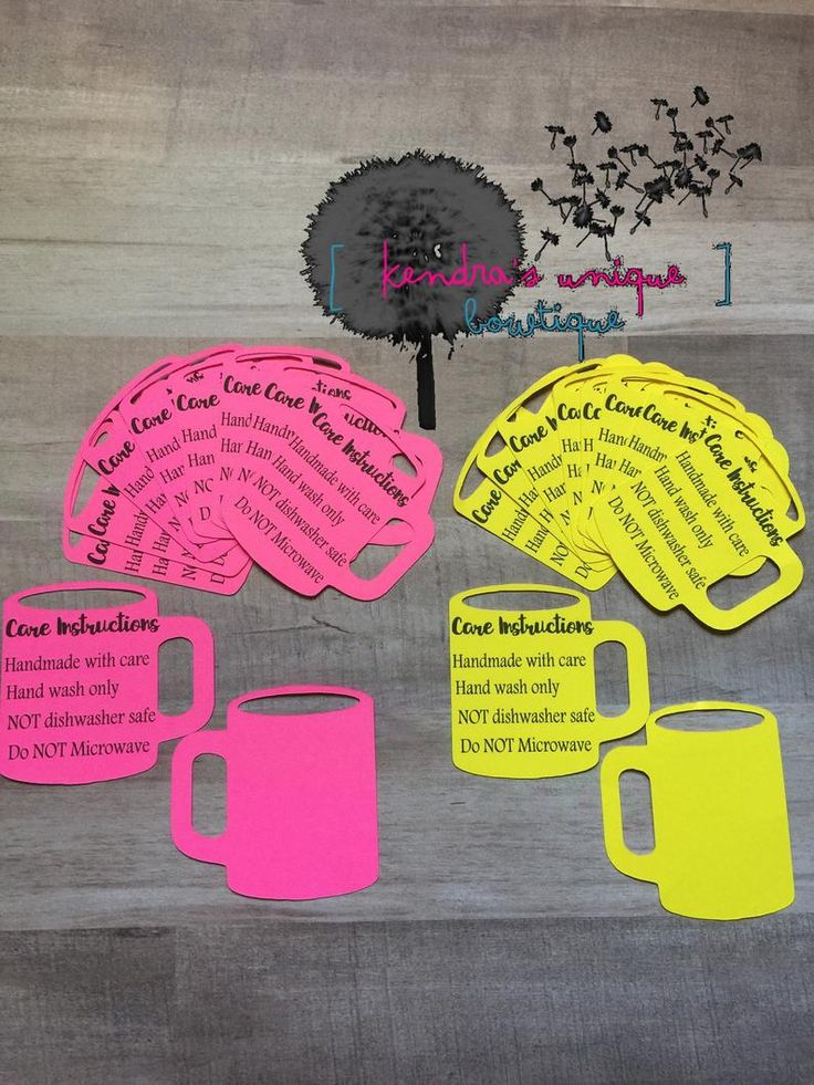 40 Care Instructions coffee cup cards safety instructions