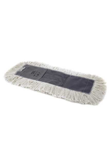 Cotton slip-on dust mop: Cotton industrial slip-on cut-end dust mop - treated