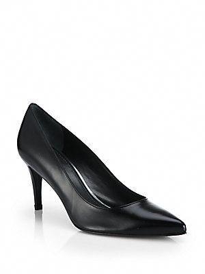 f41145200def Stuart Weitzman Pinot Leather Mid-Heel Pumps