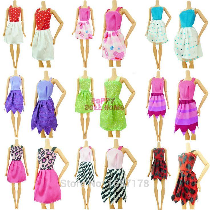 Топ 1 Компл. = 6 Mix Виды Ручной Работы Различных Красочный Мода платье Милые Cool Одежда Для Barbie Doll Аксессуары Обувь для Детей подарок