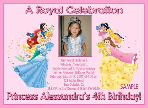 custom photo birthday party invitations disney princess