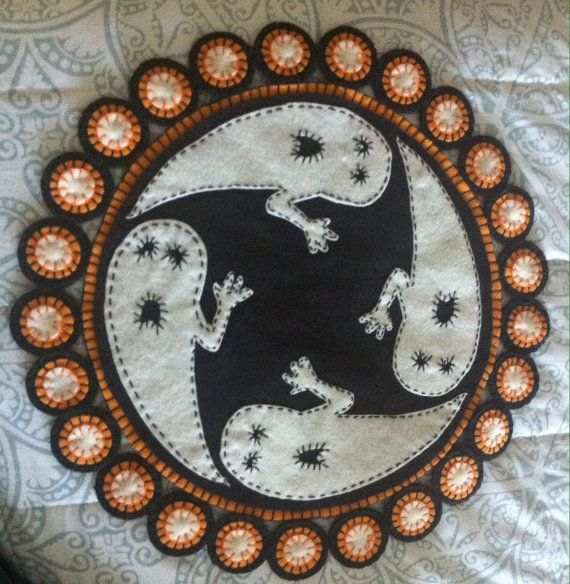 Halloween ghost penny rug, candle mat,table runner