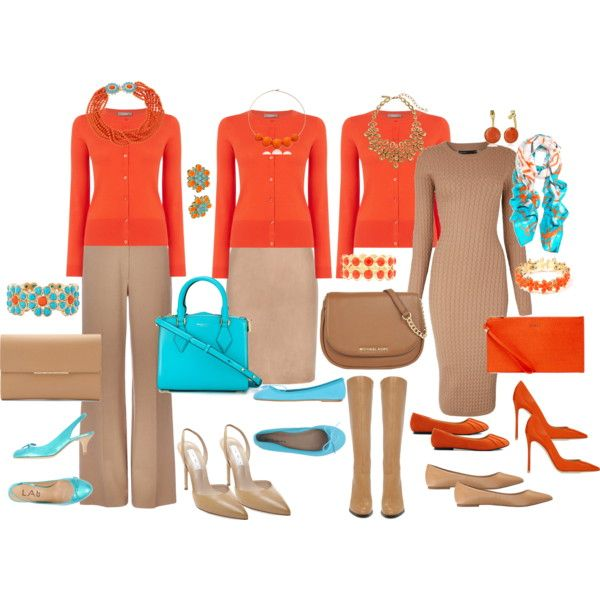 Office Dress code orange + tan + aqua
