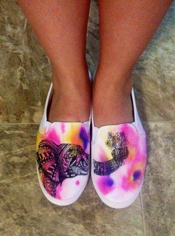 Watercolor Geometric Elephant Shoes