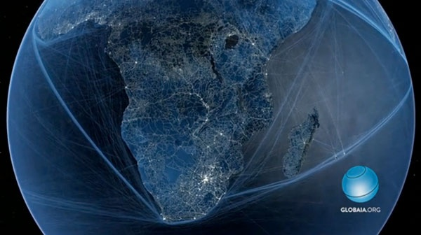 Anthropocene Animation Showing Roads, Flight Paths, and Shipping Routes by Globaia: Animation, Roads, Flight Paths, Anthropocen Animal