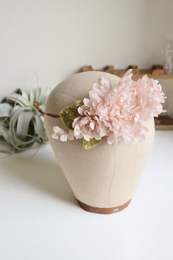 Bridal Flower Crown Ruffled Pink Silk Floral Halo Style 107