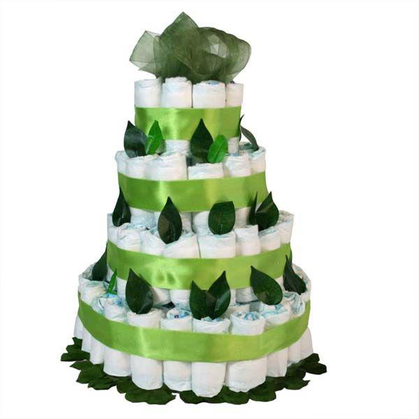 Tarta pañales hojas verdes, un regalo muy original y práctico.