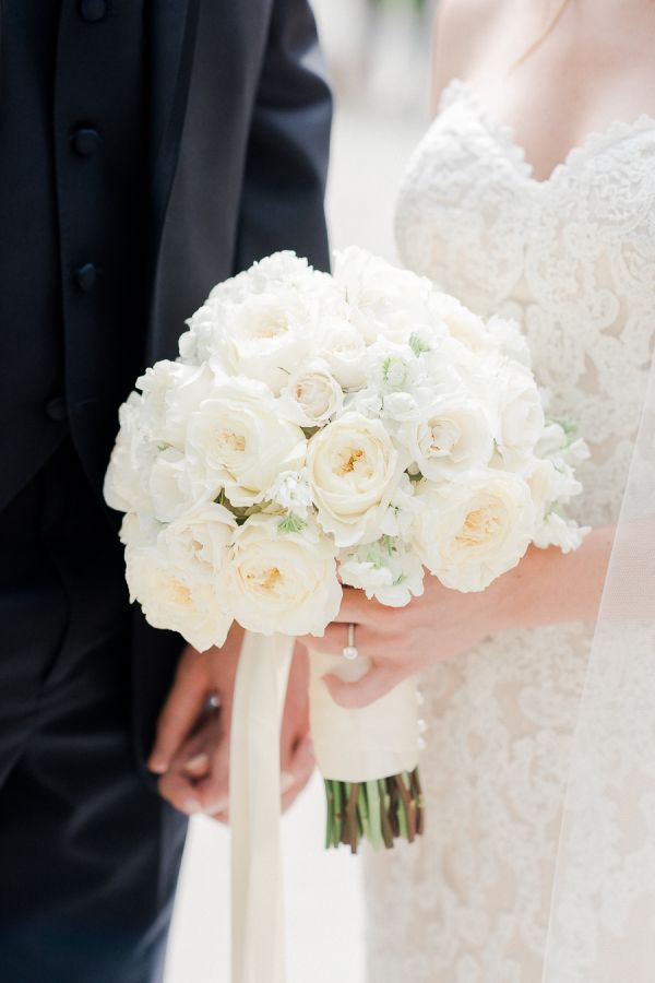 All white wedding bouquet: http://www.stylemepretty.com/living/2016/09/05/things-you-should-do-after-labor-day/ Photography: Rachel Pearlman - http://rachelpearlmanphotography.com/#!/home