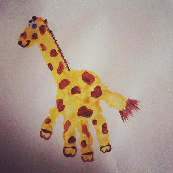 Giraffe crafts for preschoolers toddler art handprint giraffe