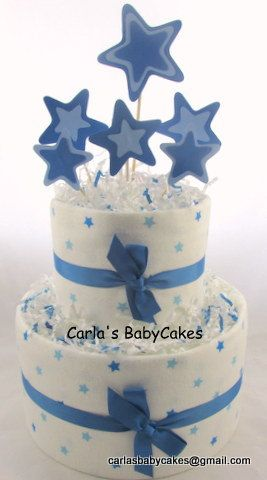 Boy diaper cake   Star diaper cake   Baby diaper cake   Baby shower gift   Baby sprinkle decoration   Mom to be gift   New baby gift by MsCarlasBabyCakes on Etsy