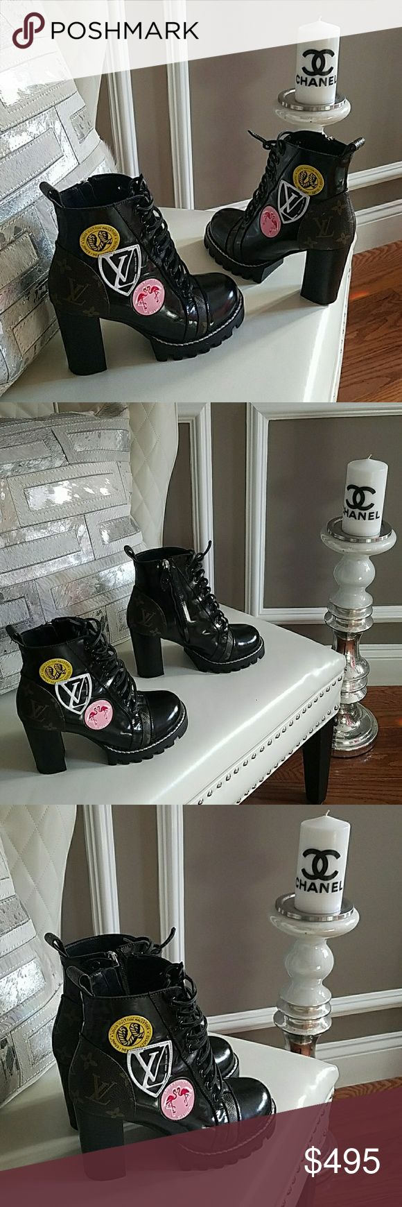 LV Louis Vuitton Patched booties boots Monogram 39 Pre owned in mint condition LV Louis Vuitton Patched booties boots  European size 39 US size 8 Monogram  Retail price $1,300 Asking $495 firm Made in Italy As is no box or dustbag my sister received as a gift. Louis Vuitton Shoes Ankle Boots & Booties