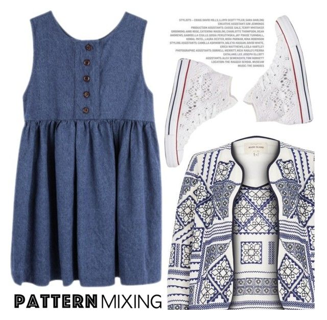 """Pattern Mix Master"" by kels-x ❤ liked on Polyvore featuring River Island, Converse and patternmixing"
