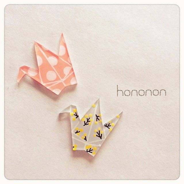 Origami crane brooches made with shrink plastic