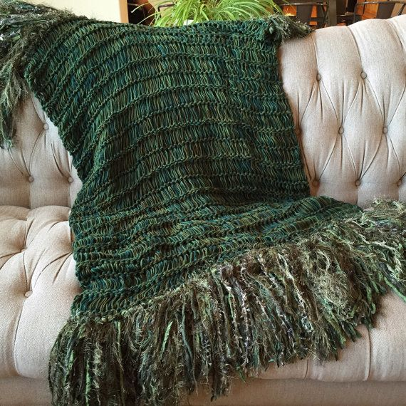 Payday splurge! Green blanket throw with fringe
