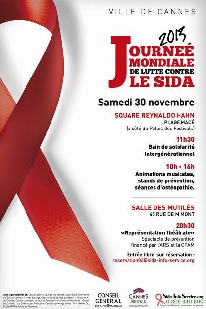 Journée mondiale de lutte contre le Sida. Le samedi 30 novembre 2013 à Cannes.