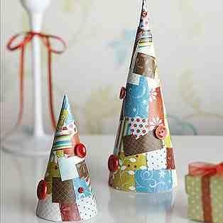Scrappy paper handmade christmas trees-decoupaged, glittered, gems