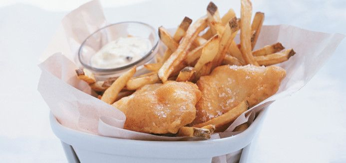 Fish And Chips With Tarragon-Malt Vinegar Mayonnaise Recipe ...