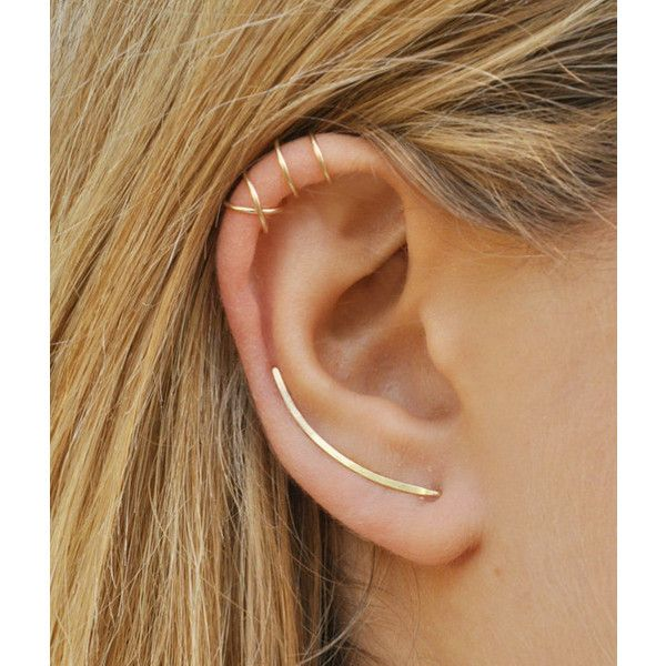 Modern Minimalist Set of 3 Smooth Ear Climbers, Ear Cuff, Double Ear... (£18) ❤ liked on Polyvore featuring jewelry, earrings, ear cuff jewelry, ear climbers jewelry, earring ear cuff, ear climber earrings and earring jewelry