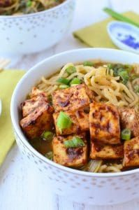 Vegan Ramen Soup! Flavorful miso broth with hoisin tofu and fresh ramen noodles. | www.delishknowledge.com