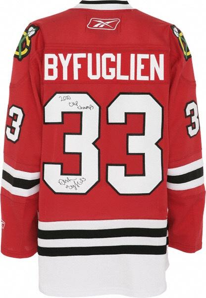 Dustin Byfuglien Autographed Jersey  Details: Chicago Blackhawks, Red