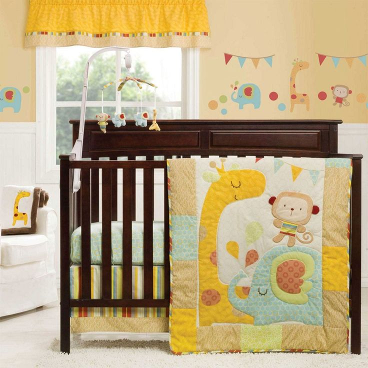 Baby Nursery: Personable Baby Gift Design Ideas With White Cream Wall Painting Brown Wooden Baby Cribs With Animal Theme Baby Bedding And Baby Furniture Glass Window With Orange Curtains White Fur Rugs Laminate Flooring: Best Baby Gift Newborn