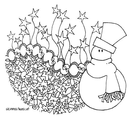 Mr Snowman On Christmas Touching A Snowflake Coloring Page: 17 Best Images About Holiday Zentangle/ Dooling Art On