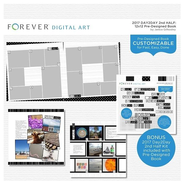 2017 Day2Day 2nd Half Pre-designed Book 12x12 This pre-designed, photo-ready book template is fully customizable for 12 x 12 or 8 x 8 pages. Artwork and additional Digital Kit.  Contains: 1 cover and 31 pre-designed pages plus Mini Kit including 7 Papers, 3 Overlays and 98 Embellishments