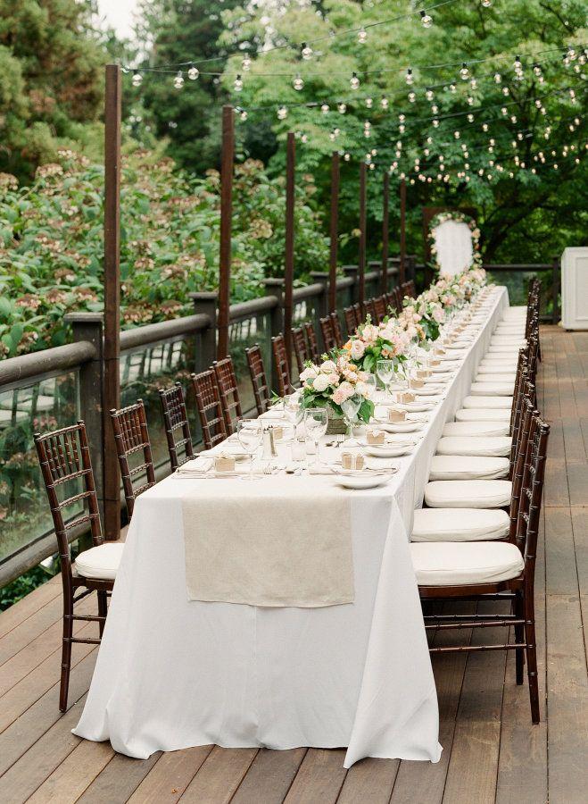 Elegant long tablescape: http://www.stylemepretty.com/canada-weddings/british-columbia/vancouver/2016/01/11/elegant-intimate-stanley-park-wedding/   Photography: Gucio Photography: http://www.guciophotography.com/