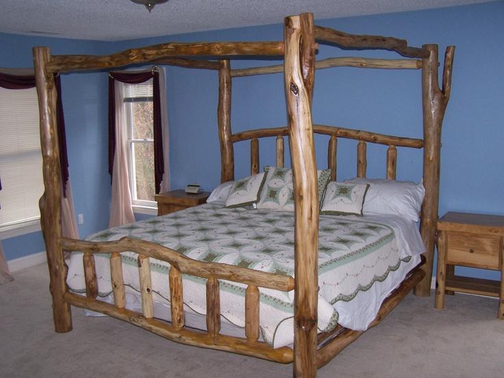 7 best rustic bedroom furniture images on pinterest for Log canopy bed frames