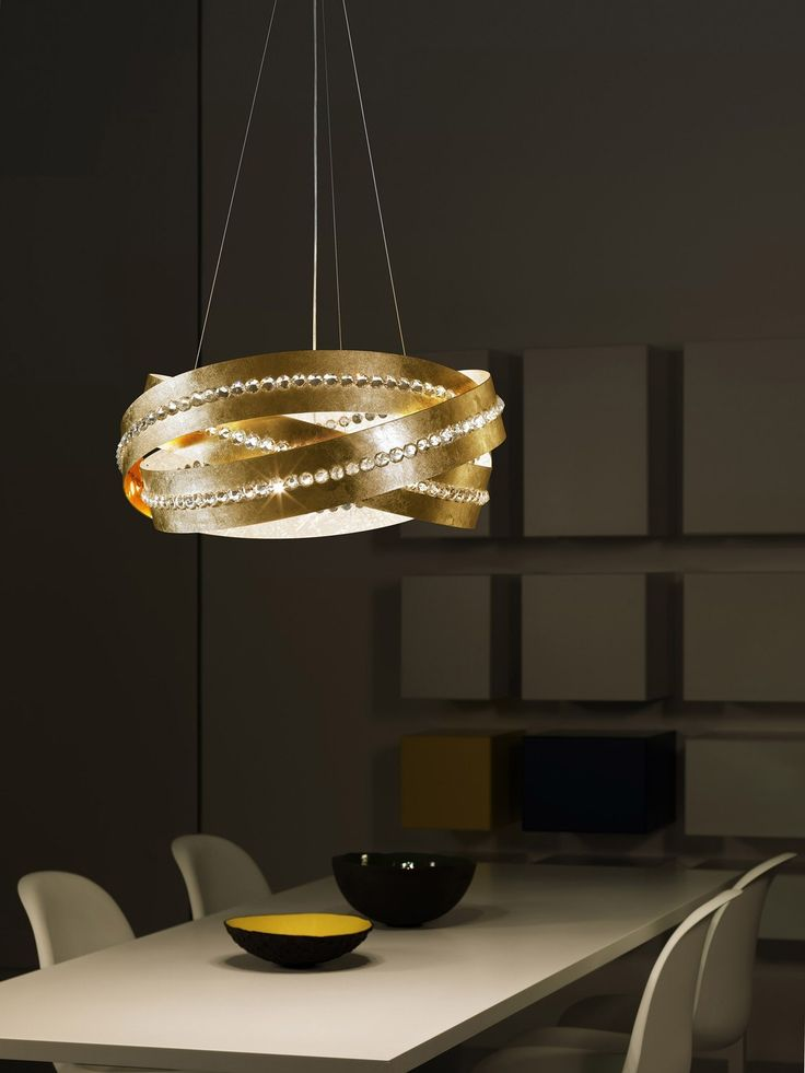 Ceiling lamp consisting of twirls of silver leaf