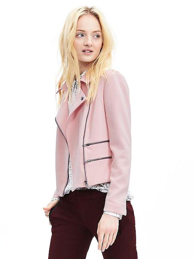 Opt for a moto jacket in a non-traditional pink for a feminine touch.