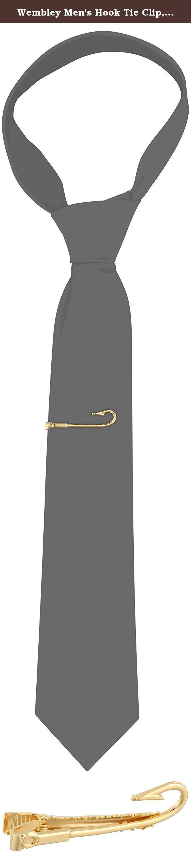 Wembley Men's Hook Tie Clip, Gold, One Size. Hook tie clip.
