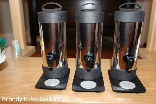 Make a doll sized coffee dispenser. This is from the coffee shop! How to make your own doll sized coffee dispensers!