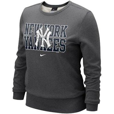 @Fanatics #FanaticsWishList - Nike New York Yankees Ladies Charcoal Distressed MLB Crew Sweatshirt