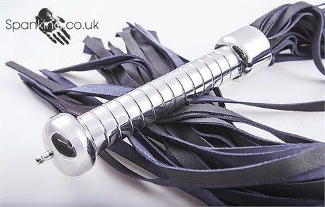 Stainless Steel Handle Flogger - Black Leather