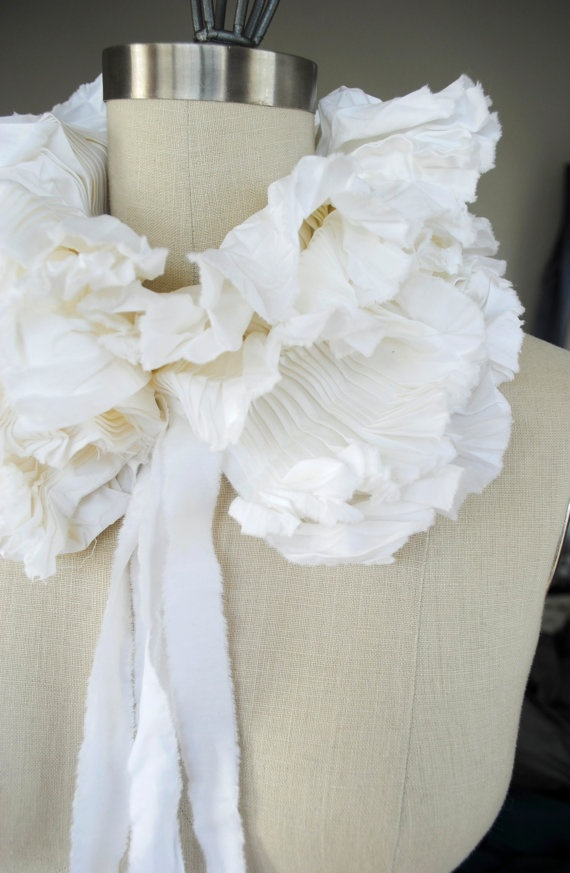 Could be An interesting addition to a crisp white shirt...    White Ruffle collar/ Ruffled Fashion/Cotton/ Bride by marinaasta, $45.00