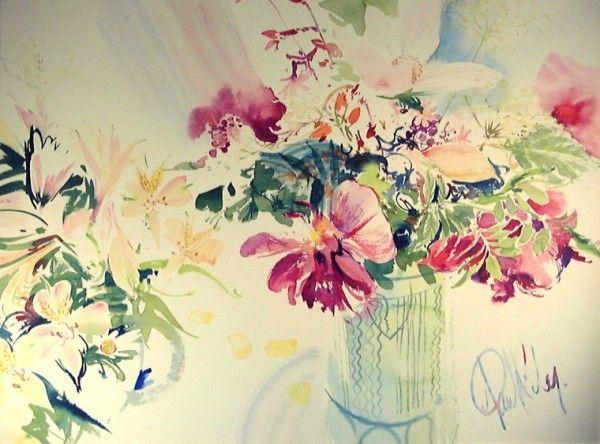 """Пол Райли акварель """"Цветы в зеленой вазе"""" смелые цвета на Saunders Waterford"""