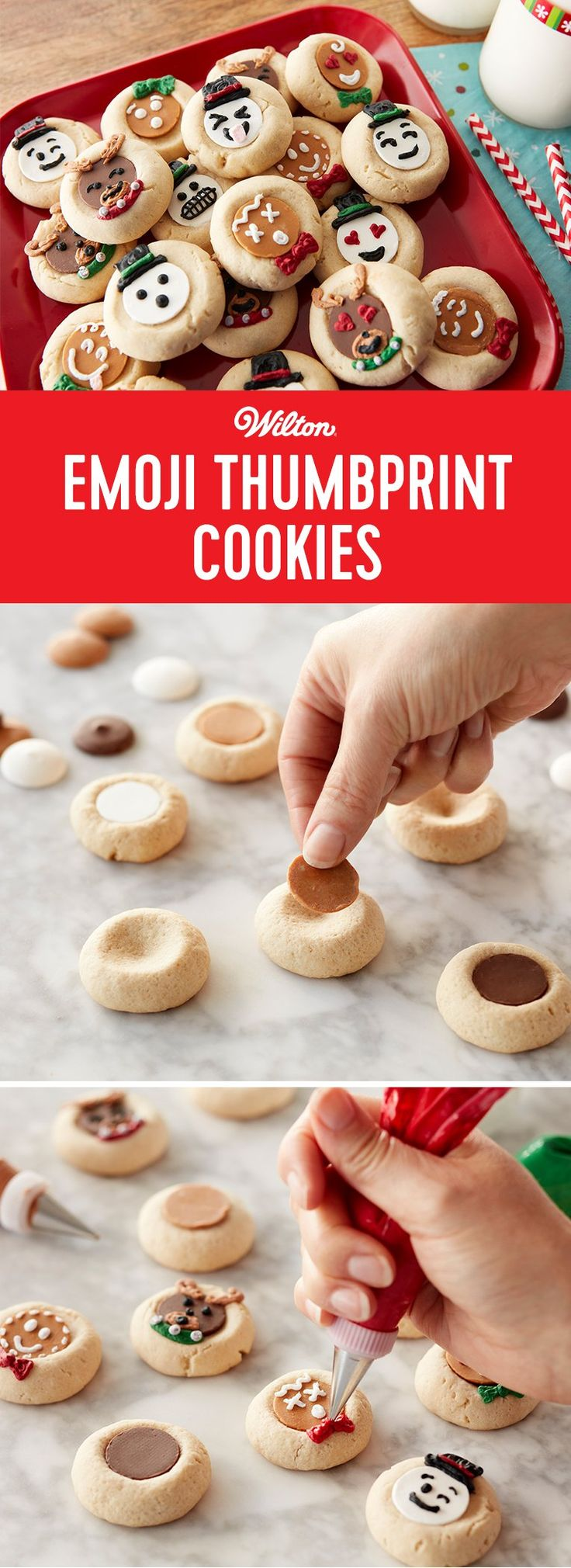 Emoji Thumbprint Cookies - Too cute for actual words, these cookies combine the tradition of baking for the holidays with trendy, Emoji expressions. Easy to decorate, Wilton Candy Melts candy wafers create the reindeer, snowmen and gingerbread faces, icing pipes the facial details. #thumbprintcookies #christmascookies #christmas #candymelts #wiltoncakes