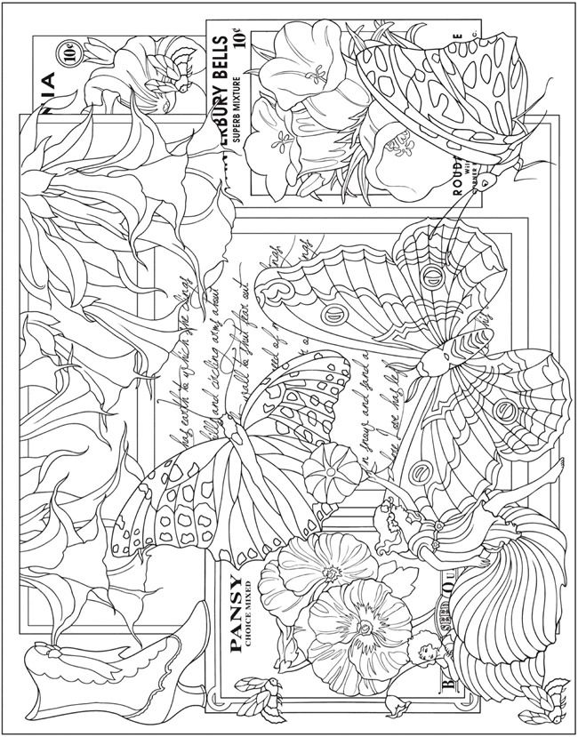 butterlies flowers and fairies coloring page from escapes collage art coloring book welcome to dover publications