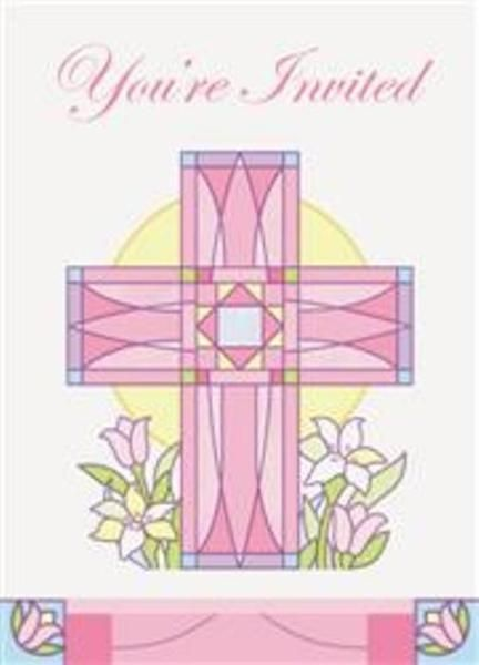 Sacred Cross Pink Christening Communion Party Invitations With Envelopes - 8 Pack