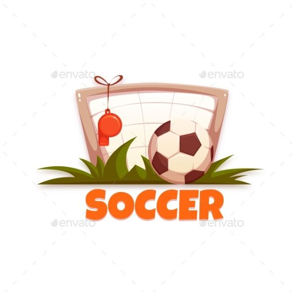 Soccer Banner with Football Ball and Goal