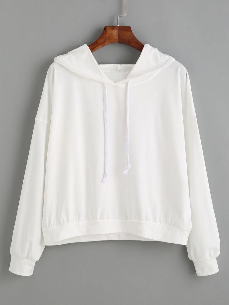 White Long Sleeve Hooded Sweatshirt