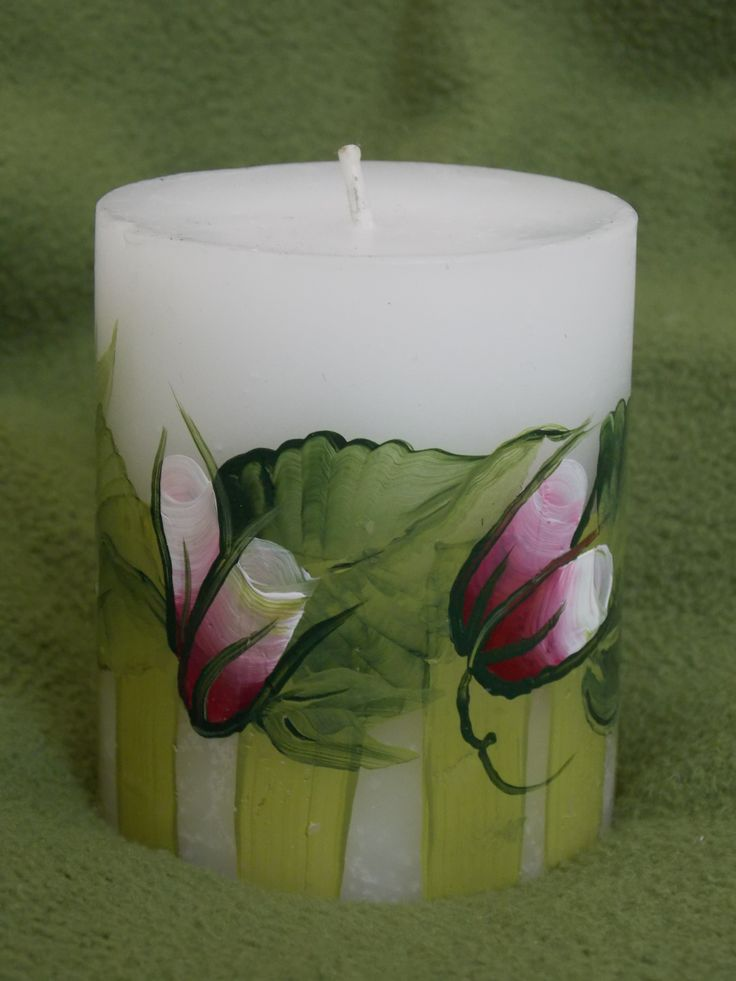 Hand-painted candle (painted by Helen Krupenina)