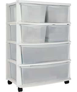 6 Drawer Plastic Wide Storage Chest - White.