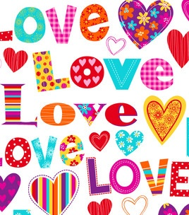 Novelty Cotton Fabric- Tossed Words & Hearts : quilting fabric & kits : fabric : Shop | Joann.com