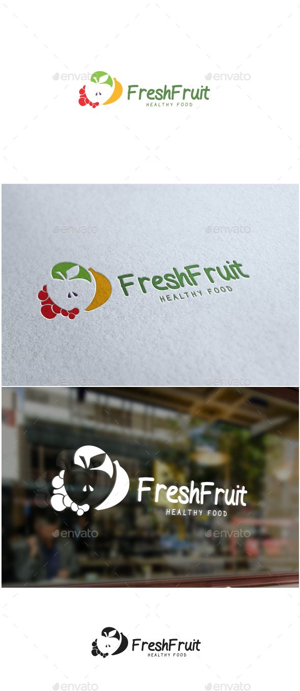 Fresh Fruit #Logo - #Food Logo #Templates Download here: https://graphicriver.net/item/fresh-fruit-logo/19341043?ref=alena994